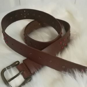 4/$25 Beaded leather belt with cutouts